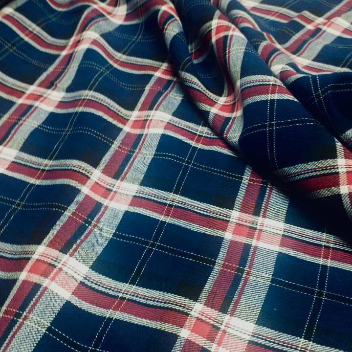 Tecido Flanela Xadrez Vermelho e Azul 1,47x1,00m