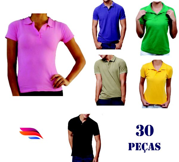 9184519584 Kit com 30 Camisas Pólo Pique - Personalizada - Tamanhos (P-M-G-GG ...