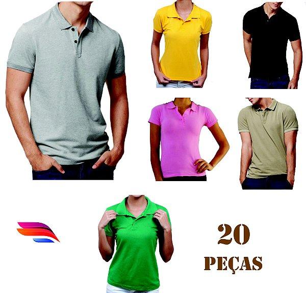 2b3da691f Kit com 20 Camisas Pólo Pique - Personalizada - Tamanhos (P-M-G-GG ...
