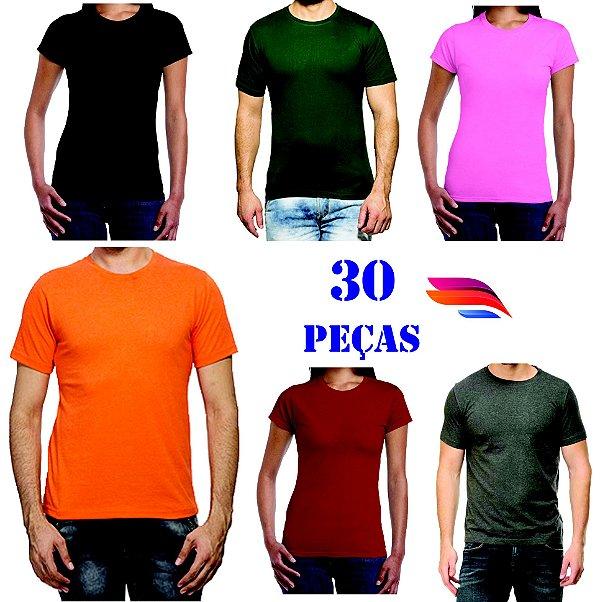 7fffd627e3 Kit com 30 Camisetas Gola Careca - 100% Algodão - Personalizada - Tamanhos  (P-M-G