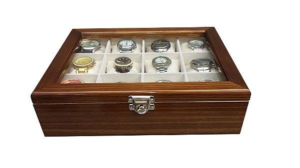 7f09f13fb6b Estojo para 12 Relógios MADEIRA - Cerejeira Flocado de Bege - Hobby