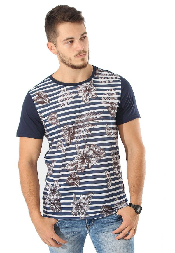 Camiseta Flowered Stripes