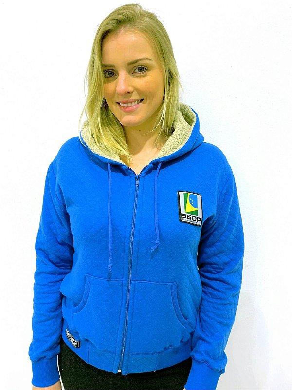 Moletom Feminino BSOP Matelassê Azul Play Hard Go Pro