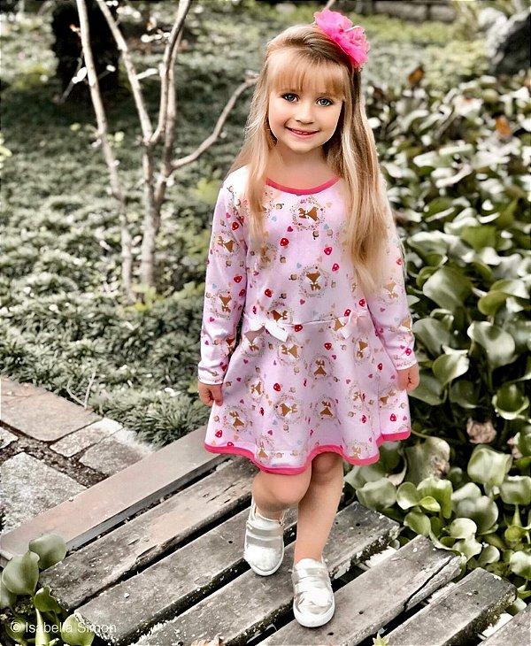 Vestido Infantil Raposas com Laços