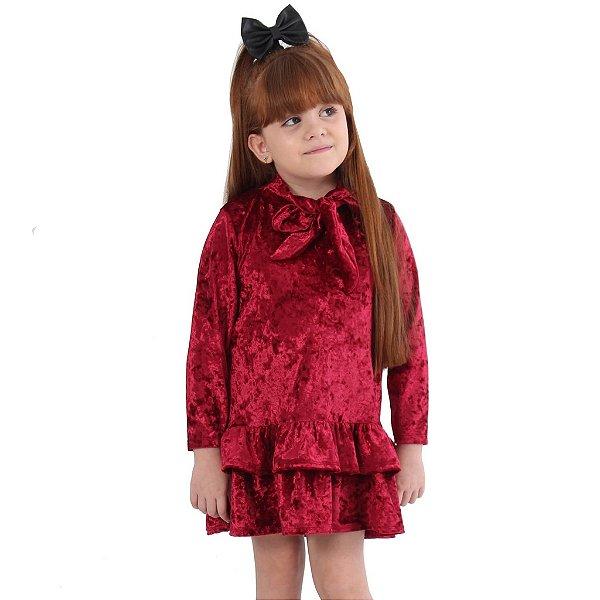 Vestido Infantil de Veludo