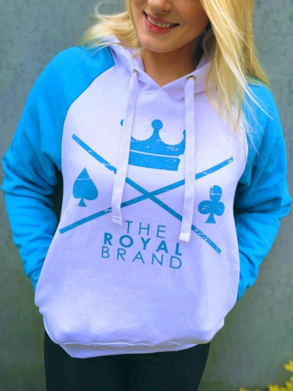 Moletom Feminino Raglan Royal Logo Azul