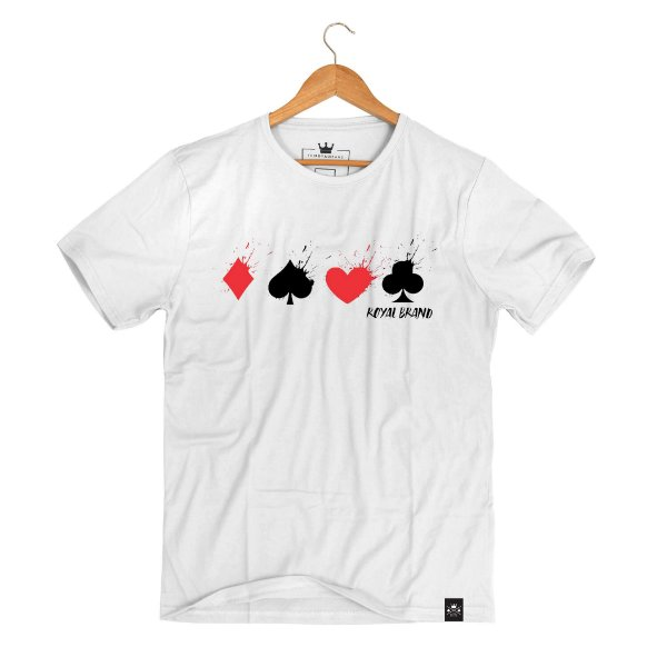 Camiseta Painted Poker Suits White