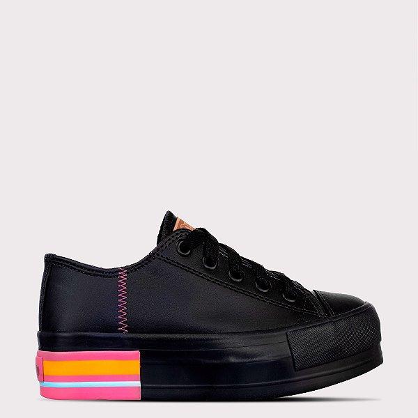 Tênis Capricho Likes Platform Class Colore Sintético - Black