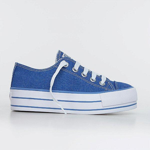 Tênis Capricho Likes Platform Jeans - Blue