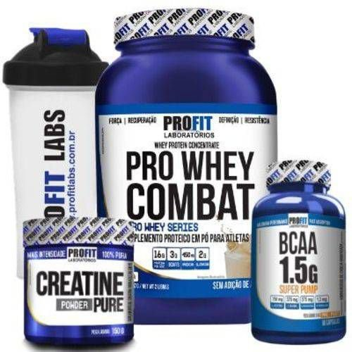 Combo Pro-Fit - Whey Combat 900g + Creatina 150g + Bcaa 60 caps + Squeeze