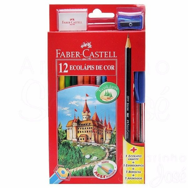 Lápis De Cor 12 Cores Ecolápis Faber Castell