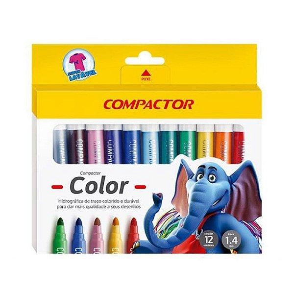 Caneta Hidrográfica Color 12 Cores Compactor