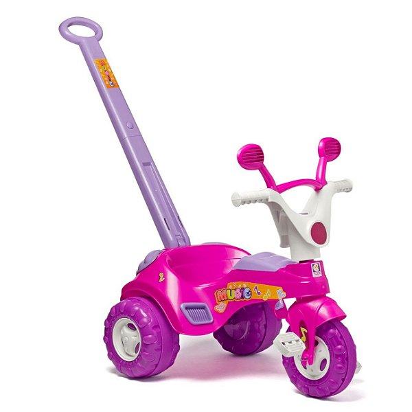 Triciclo Infantil Musical Rosa C/ Som E Haste