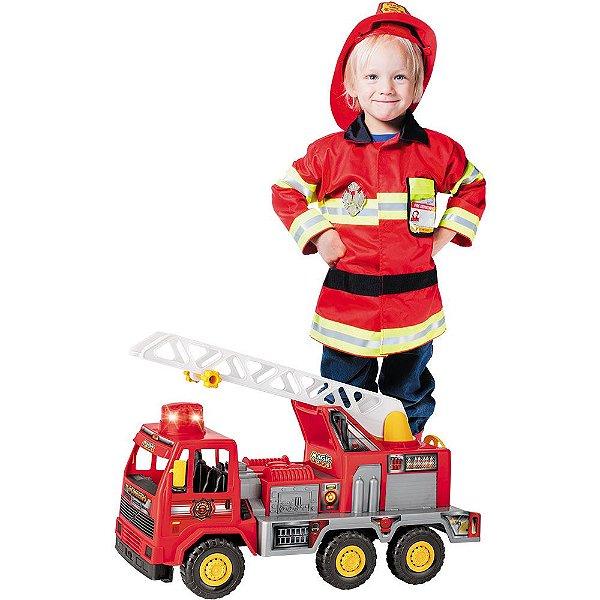 Caminhão Bombeiro Fire C/ Som E Luz - Magic Toys