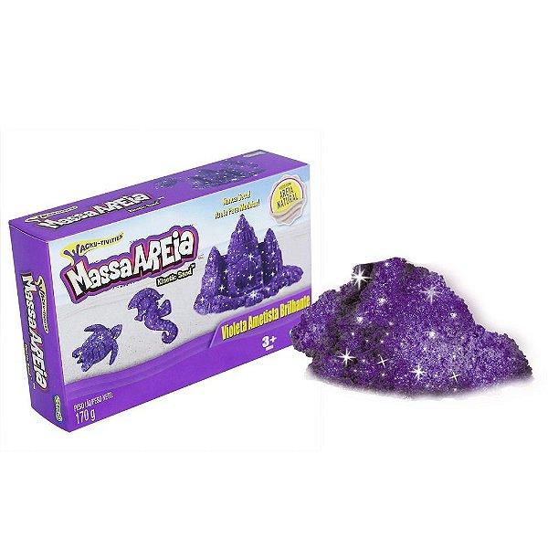 Areia de Modelar - Massa Areia Brilhante Metalica - Violeta