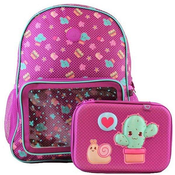 Kit Mochila Infantil e Estojo Love Cactus