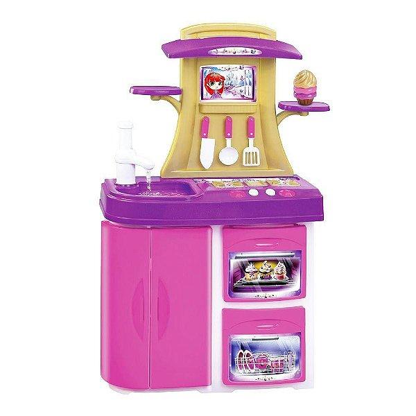 Fogão Cozinha Infantil Menina Meg mais Capcake Panela e Acessórios som Luzes
