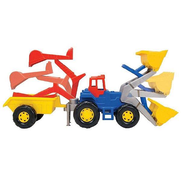 Escavadeira Trator Truck Super Infantil Escavador Retroescavadeira