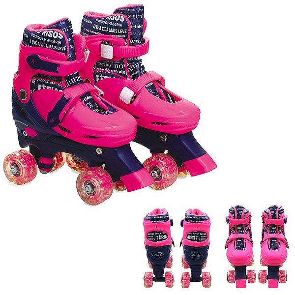 Patins 4 Rodas Paralelas Com Luz Ajustável Do 35 Ao 38 Rosa - Unik Toys