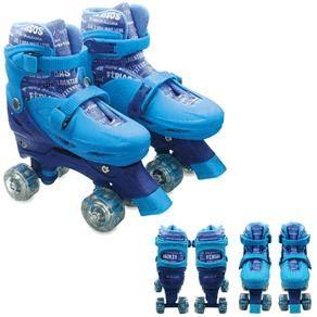 Patins 4 Rodas Paralelas Com Luz Ajustável Do 35 Ao 38 Azul - Unik Toys