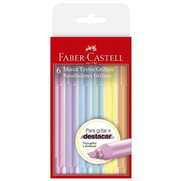 Marca Texto Grifpen Faber Castell 6 Cores Pastel