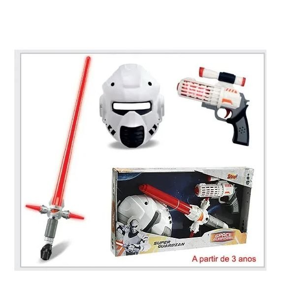 Kit Arma De Brinquedo Com Som Luz Máscara Espada 0239