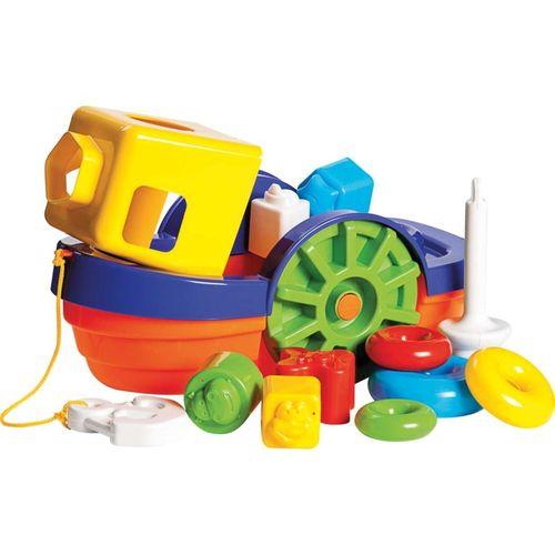 Brinquedo Educativo Barco Didatico com Blocos e Ancora