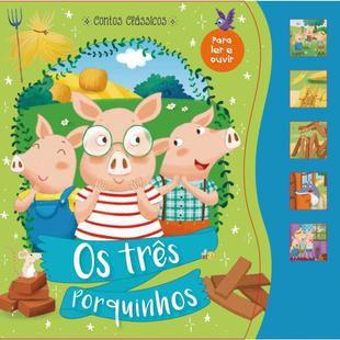 Livro Brinquedo Ilustrado Os 3 Porquinhos Sonoro 12pag. Unidade Ciranda
