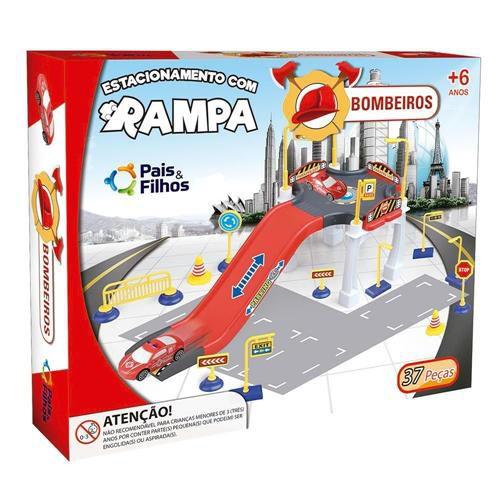 Veículo e Estacionamento com Rampa - Bombeiros - Pais e Filhos
