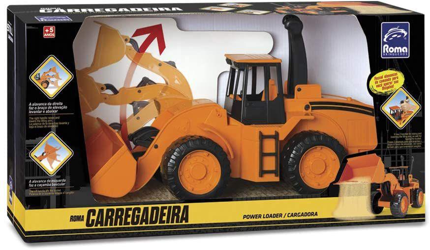 Roma Workers Trator Carregadeira Laranja - Roma Brinquedos