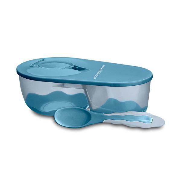 Prato Fundo Com Divisória E Colher Funny Meal Azul Multikids Baby - BB053 - Multikidsbaby