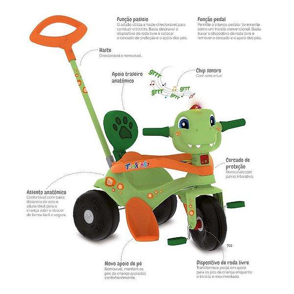 Triciclo Bandeirante Tonkinha Dino com Função Passeio e Pedal – Verde/Laranja