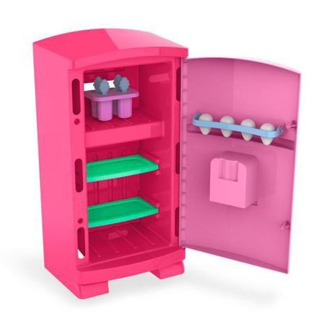 Geladeira Cozinha Brinquedo Infantil Grande Rosa 50cm - Cardoso