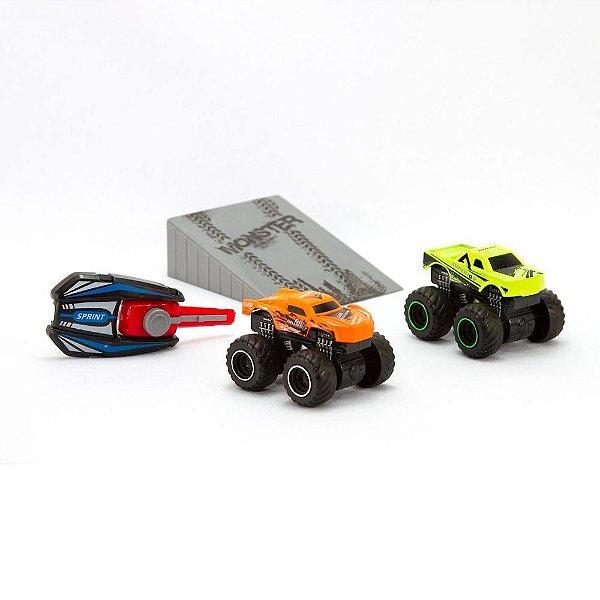Carrinho Lancador Chave Pista Infantil Conjunto 2 Carrinhos Mega