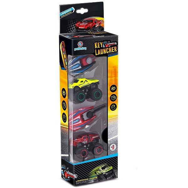 Blister Kit com 2 Carrinhos com Chave Lançadora Key Laucher Compatível Hot Wheels - Polibrinq
