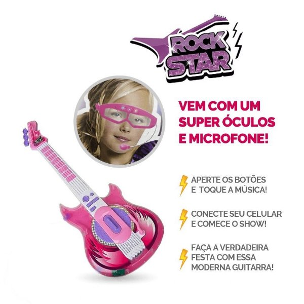 Guitarra Rock Star - Zoop Toys - Rosa