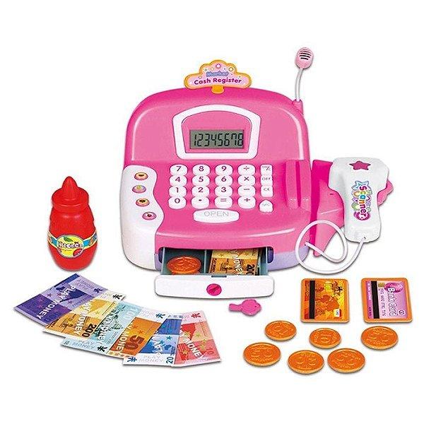 Caixa Registradora Infantil Grande Calculadora Luz, Som E Leitor