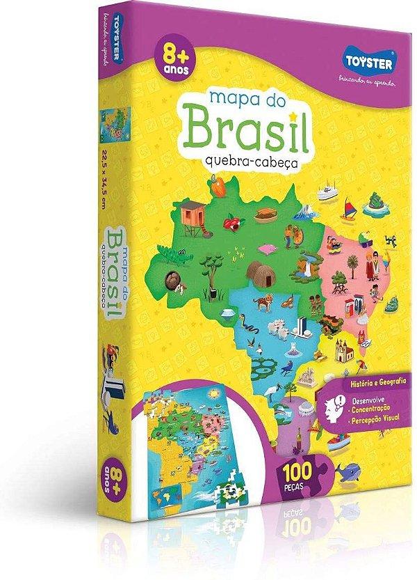 Toyster Quebra-Cabeça Cartonado Mapa do Brasil, 100 Peças