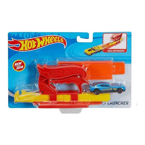 Hot Wheels Lançador Com Carrinho - Azul ou Amarelo