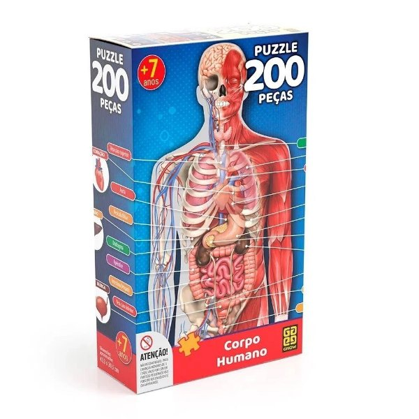 Quebra-Cabeça Corpo Humano 200 peças - Grow