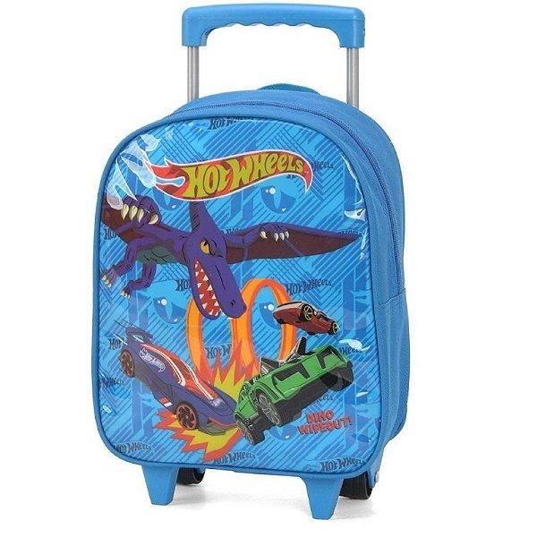 Mochila Escolar Infantil Rodinhas Hot Wheels Azul Pequena - Luxcel