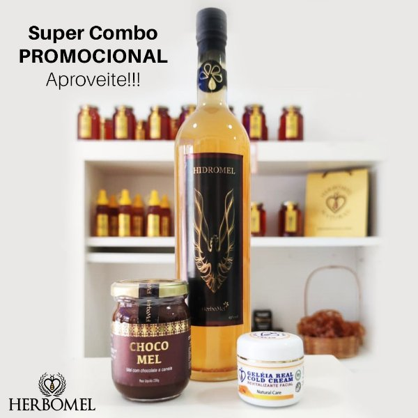 Super Combo Hidromel 750ml + Cold Cream 30g + Chocomel 230g HerboMel Natural