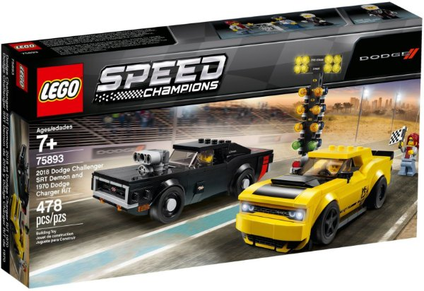 LEGO SPEED CHAMPIONS 75893 DODGE: 2018 CHALLENGER SRT DEMON AND 1970 CHARGER R/T