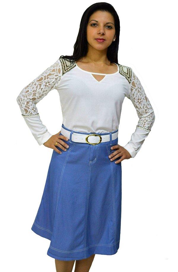 1563 - Saia Evase - D' azul