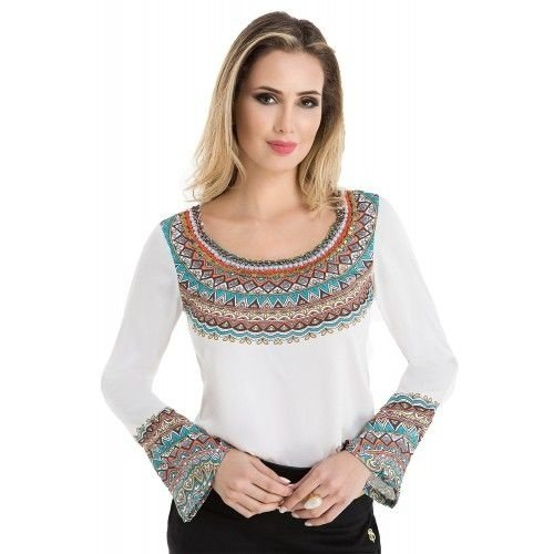 80890 - Blusa Tribal Estampada - Via Tolentino