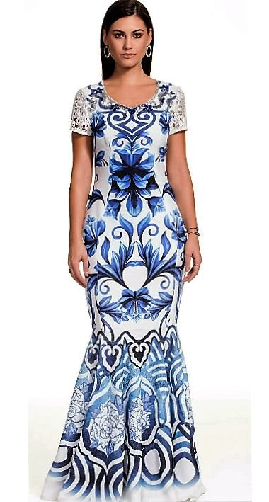 FC9650 - Vestido Siren Print Azul - Fasciniu's