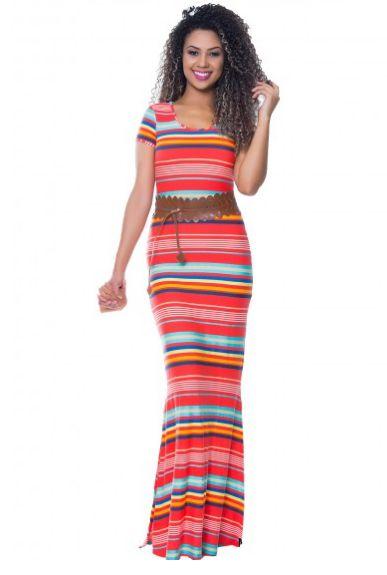 59225 - Vestido Listrado Laranja Hapuk