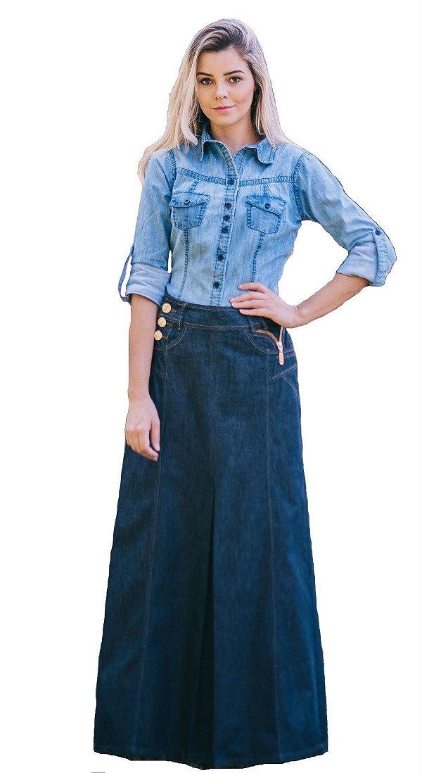 DJ128 - Saia Jeans Longa - Dâmaris Jeans