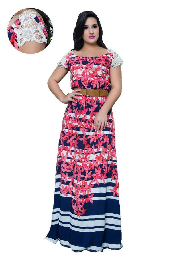10994 - Vestido Longo com Barrado - Puro Sharmy