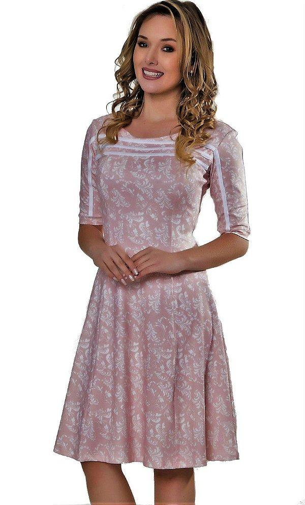 50902 -Vestido Midi Rosa -  Via Caruso